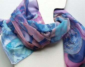 Blue jazz .Handpainted silk scarf - blue silk scarf - blue handpainted shawl - habotai - blue decorative floral motive scarf