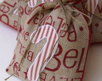 Burlap Gift Bags, Candy Cane, Set of FOUR, Red & White Stripped Ticking, Shabby Chic Christmas Wrapping, Believe Typography, Party Favor.