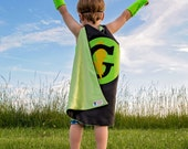 Fast Delivery - BOY or girl Super Hero Cape PERSONALIZED 26 inch cape - YOUR Choice Letter and color - black and lime St. Patricks Day