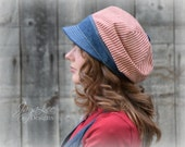 Patriotic Hat Slouchy Visor Beanie Newsboy Cap in Red White and Blue