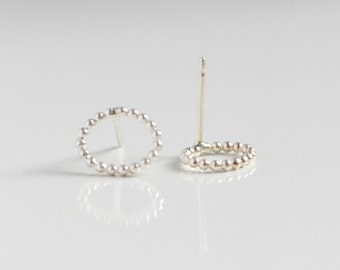 Sterling Silver Dot Stud Earrings - Nickel Free Studs - Delivate Round Oval Earrings - Geometric Jewelry - by Hook and Matter