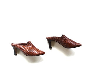Vintage Leather Mules 7.5 / High Heel Mules / Woven Leather Clogs / Brown Leather Mules