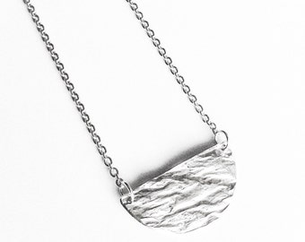 Half Full Moon Reticulated Silver Necklace - Handmade Sterling Circle Planet Texture Mountain Women Geometric Disc Reticulation OOAK Wedding