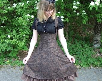 Steampunk Lolita Corset Dress- underbust corset dress, steel boned, custom made