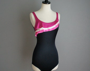 Vintage SIRENA RUFFLE 80s One Piece Mallot Swimsuit BATHING Suit (s-m)