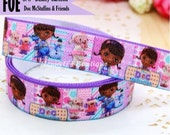 "5/8"" FOE : Doc McStuffins & Friends Inspired Cartoon Printed Patterned Fold Over Elastic Stretch Band 2, 5, 10 Yards. DIY Headband Supplies"