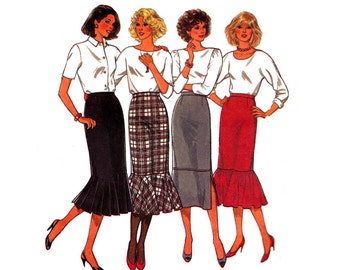 80s Skirt Pattern Style 4217 Flounced Straight Skirts Vintage Sewing Pattern Size 12 Waist 26 1/2 inches