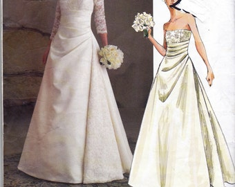 Vogue Bridal Original 2842 Womens Strapless Draped Wedding Gown Boned Bodice Sewing Pattern Size 12 14 16 Bust 34 36 38 UNCUT Factory Folds