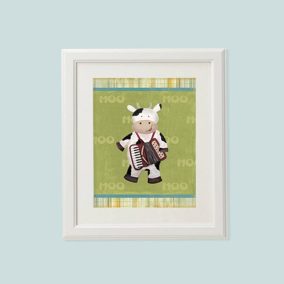 "Nursery art print -  Cow 8""x10"" Art print, Nursery decor, Baby nursery decor, Etsy kids, Kids art, Kids room decor"