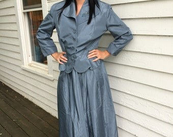 50s Blue Dress Beaded Taffeta with Jacket Formal Evening M L