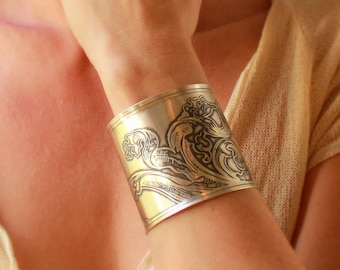Acanthus Leaves Etched Sterling Silver Cuff Bracelet