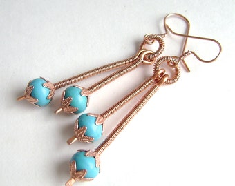 Turquoise Stick Earrings, Copper, Wire Wrapped, Robins Egg Blue, Chalk Turquoise Drops, 928