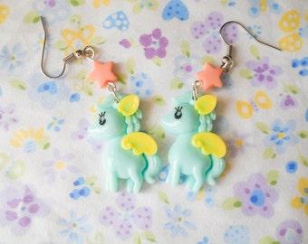Kawaii Pony Earring, Pony Earrings, Kawaii Earrings, Cute Earrings, Pegasus, Lolita, Kawaii Kei, Fairy Kei