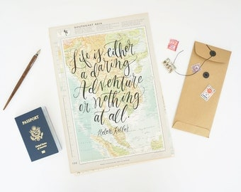 Helen Keller Travel Quote Screen Print on Vintage Atlas Page