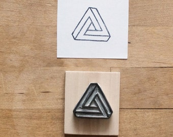 Penrose Triangle / Impossible Object - Hand Carved Stamp