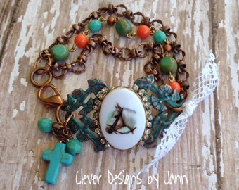 Country Chic Giddy Up Horse Bracelet .. Clever Designs by Jann