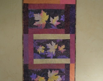 Fall Autumn Leaves Art Quilt Wall Hanging Hand Painted Fiber Art Quiltsy Handmade