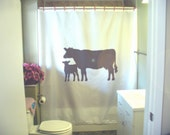 cow and calf Shower Curtain dairy farm bovine mother child herd family bathroom decor kids bath curtains custom size long wide waterproof