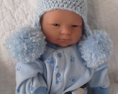 ADORABLE....Soft Baby Blue...Baby Double Pom Pom Earflap Hat....Newborn up to 3 Month...Baby Boy.....PHOTOGRAPHERS Prop...Ready to Ship