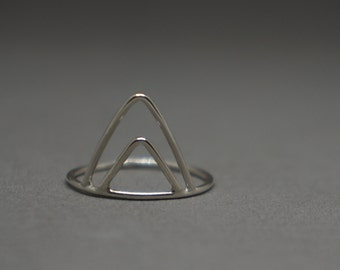 triangle ring - triangular silver ring - nested triangle geometric ring - silver ring - size 7