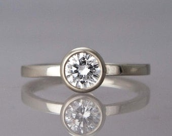 Gold Solitaire Engagement Ring - 5mm White Sapphire or Moissanite in 14k Solid Gold - 1/2 CT Diamond Alternative