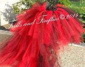 Red HI-LO Tulle Skirt/High Low Tutu Skirt/Festival Clothing/Cosplay Costume/Bridal Skirt/Skirts for Women/Bridal Tutu/Bachelorette Party