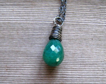 Genuine Emerald Necklace,  Natural Emerald Pendant,  Sterling Silver,  May Birthstone Jewelry, Wire Wrapped Emerald Necklace