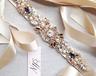 Rose Gold Crystal Bridal Belt- SWAROVSKI - Rhinestone, Sequin and Pearl Bridal Sash