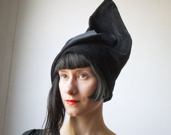 Black Velvet Angular Hat - Handmade vintage inspired hat