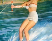 Water Skiing Pin Up Girl Fabric Block,  5 x 7 Inches, Fabric Block  Supplies, Sewing Supplies, Creative Projects, HomeDecor,