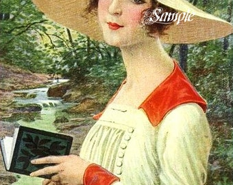 Country Lady in Hat 1905 Reproduction Cotton Fabric Block 5 x 7 Inches, Sewing Supplies, Quilting Supplies, Creative Projects, Home Decor