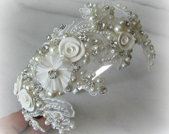 Ivory Lace Headband with Rhinestones and Pearls, Bridal Headband, Crystal Head Piece, Champagne, White - ELISABETA