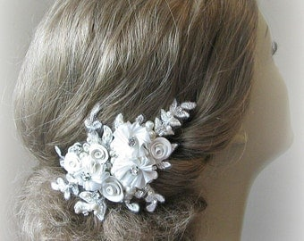 Flower Hair Clip, Ivory Bridal Fascinator with Crystals and Pearls, Flowers, White, Champagne - ALLISON