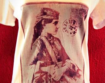 Hand-dyed tshirt, vintage Azerbaijan woman hand-dyed tshirt, ethnic tshirt, Inkodye tshirt, Lumi Inkodye printed tshirt - AZERBAIJAN WOMAN