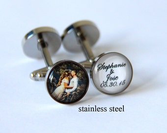 Custom Wedding gift for groom Custom wedding photo gift, Custom wedding photo cufflinks, Custom wedding logo cuff links, Custom wedding date