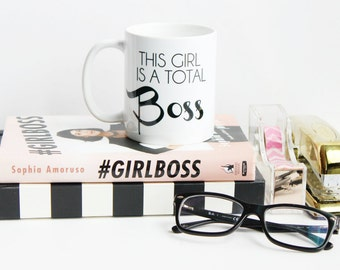 This Girl is a Total Boss / black and white coffee mug - inspirational - ceramic - gift - girlboss - boss lady - entrepreneur - boss babe