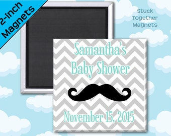 Mustache Baby Shower Favor Magnets - 2 Inch Squares - Set of 10 Magnets