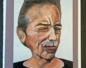 The Wink of Johnny V - photo art card of original chalk pastel by Trish Vernazza