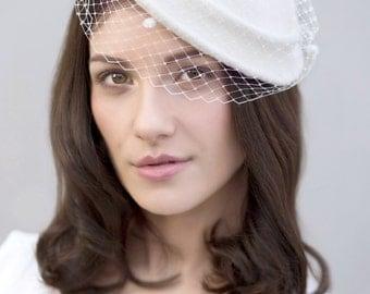 Vintage Style Bridal Hat, Off White Hat, Birdcage Veil English Wedding Hat - Katie