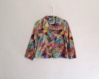 Vintage 1970s Digital Patchwork Print Psychdedelic Button Down Cropped Blazer