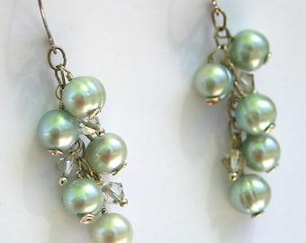 Pale Aqua Pearl and Swarovski Crystal Sterling Silver Earrings - Cyberlily