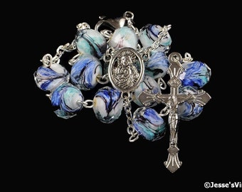 White Aqua Blue Black Rondelle Glass Bead 1 Decade Pocket Auto Rosary