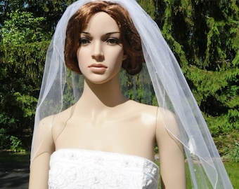 Single Tier Rhinestone Dotted Finished Pencil Edge Bridal Wedding Veil White Diamond Ivory