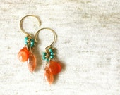 Orange Opal, Sun Stone, and Turquoise 14K Gold Filled Earrings