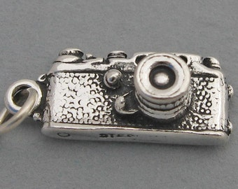 Sterling Silver 925 Charm Pendant 3D 35MM CAMERA Photography 1894