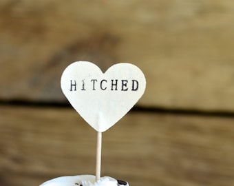 HITCHED Heart Cupcake Picks, 12 hand stamped toppers - the ORIGINAL handstamped hearts in vintage, kraft, mint, red, pink or white paper
