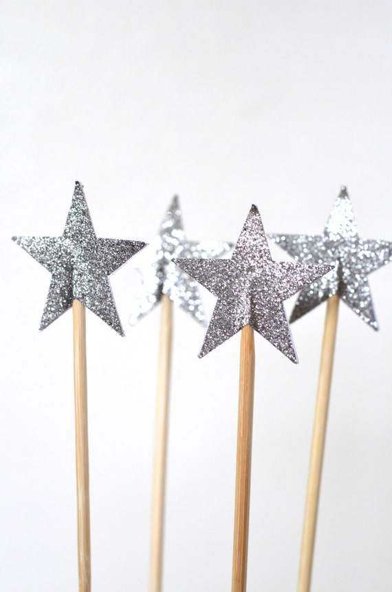 Sparkly Star Cake Pop Sticks, 12 decorated dessert toppers in pink, blue, yellow, gold or silver