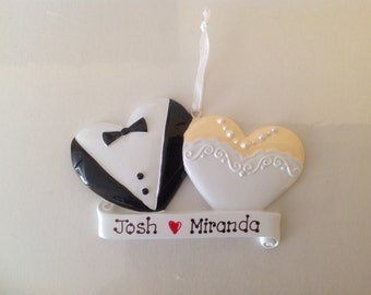 Personalized Christmas Wedding Cookie Ornaments/ Favors - Couple's First Christmas, Bride and Groom- Wedding ,Bridal , Anniversary Gift