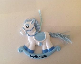Personalized  Rocking Horse Baby Boy's  First Christmas Ornament - Newborn, Baby Shower Gift