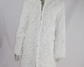 Light Up Coat  REVERSIBLE  White Mini bubble faux fur and a teal silk interior  80 LEDs   XS
